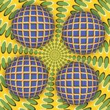 Illusione ottica di una rotazione della palla quattro intorno di una superficie commovente Immagine Stock