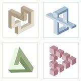 Illusioni ottiche differenti degli oggetti impossibili illustrazione di stock