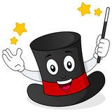 Illusionist Hat Character med trollspöet Royaltyfri Bild