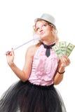 Illusionist louro da mulher com dólares imagem de stock