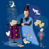 Illusionist magician shows tricks magic cards. Vector illustration Stock Image