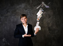 Illusionist man with fountain of cards Stock Photography