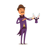 Illusionist in Purple Tail-coat with Bunny in the Hat Stock Image