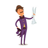 Illusionist in purple tail-coat with white bunny Royalty Free Stock Photography