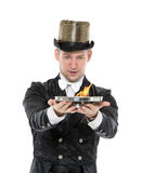 Illusionist Shows Tricks with Fire Stock Image