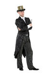 Illusionist Shows Tricks with a Magic Wand Royalty Free Stock Photo