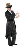 Illusionist Shows Tricks with Playing Card Royalty Free Stock Image