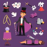 Illusionist vector magic man and saw woman on scene icons bunny, hat, ball fantasy witchcraft magic theater. Wizard hat. Entertainment performance magician Royalty Free Stock Images