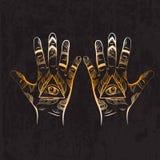 Illusitration av handen med allt seende ögonpyramidsymbol Arkivfoto
