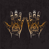 Illusitration of hand with All seeing eye pyramid symbol. Stock Photo