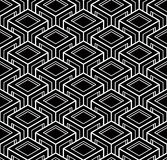 Illusive continuous monochrome pattern, decorative abstract. Background with 3d geometric figures. Contrast ornamental seamless backdrop, can be used for design Royalty Free Stock Photography