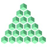 Illusive figure constructed of isometric cubes. Illusive figure constructed of blocks. Isometric cubes turned in different angle. Mathematical object. Optical Stock Image