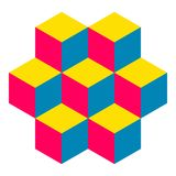 Illusive figure constructed of isometric cubes. Illusive figure constructed of blocks. Isometric cubes turned in different angle. Mathematical object. Optical Stock Photo