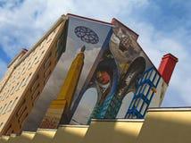 Illusorische Malerei auf einer Hausmauer Lizenzfreie Stockfotos