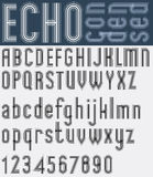 Illusory condensed black and white font and numbers, echo stripe Stock Images
