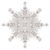 Illusration di Natale del fiocco di neve Pagina adulta del libro da colorare Stampa creativa del nuovo anno illustrazione di stock