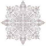 Illusration di Natale del fiocco di neve Pagina di coloritura adulta o tatuaggio temporaneo Stampa creativa del fiocco di neve de illustrazione vettoriale