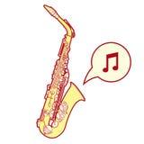 Illusration stilizzato del sassofono Fotografia Stock Libera da Diritti