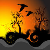 Illust bonito do por do sol do vetor ilustração do vetor