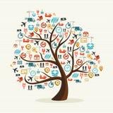 Illust colorido dos ícones do transporte da fôrma abstrata da árvore Fotografia de Stock