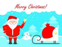 Illust del vector de los saludos de Santa Claus Merry Christmas Christmas Imagen de archivo libre de regalías