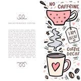 Illustarion кофе handdrawn с космосом для вашего текста Handdrawn illustation вектора с милыми кофейными чашками и дизайном Стоковые Изображения RF