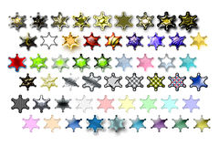 Illustarions sheriff star 01. Bunch of Sheriff stars illustrations with various graphic effects stock illustration