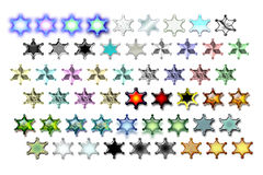Illustarions sheriff star 02. Bunch of Sheriff stars illustrations with various graphic effects vector illustration