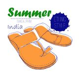 Illustartion сандалии чертежа от Индии с текстом литерности Женщина лета этнического ботинка стиля для дизайна журнала Стоковые Фотографии RF