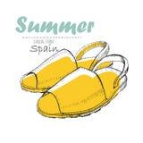 Illustartion сандалии чертежа от Испании с текстом литерности Ботинок женщины лета для дизайна журнала Стоковое Изображение RF