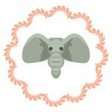 Illustartion capo del fumetto di vettore dell'elefante grigio Fotografie Stock Libere da Diritti