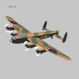 Illustartion d'annata di vettore del bombardiere Ærei militari pesanti WW2 Retro aeroplano leggendario Fotografia Stock