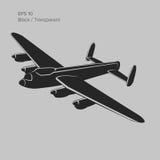 Illustartion d'annata di vettore del bombardiere Ærei militari pesanti WW2 Retro aeroplano leggendario Immagini Stock