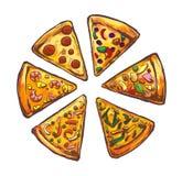 Illustartion de los alimentos de preparación rápida de la pizza Fotos de archivo libres de regalías