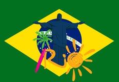 Illustartion de rio 2016 jogos eps 10 Bandeiras do conceito do esporte brasil Fotografia de Stock Royalty Free