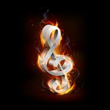 Fiery Music. Illustartion of fiery music note with flame Stock Image