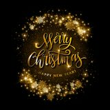 Gold glittering star dust circle. Illustartion of Gold glittering star dust circle with merry christmas and happy new year lettering Royalty Free Stock Image