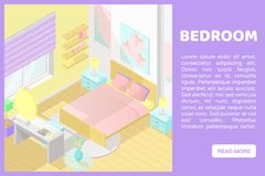 Illustartion intérieur coupé isométrique de vecteur bas poly bedroom Bannière pour un site Web illustration stock