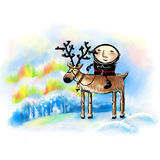 Illustartion with laplander on a reindeer. Royalty Free Stock Photo