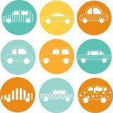 Illustartion of outline silhouette cars. Doodle art vector illustration