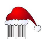 Illustartion of Santa's cap on barcode Royalty Free Stock Photography