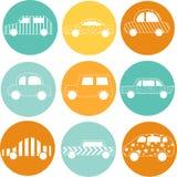 Illustartion van de auto's van het overzichtssilhouet Krabbelart. vector illustratie