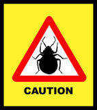 Illustated Bedbug Caution. Caution Bedbug Crossing yellow and red triangle traffic sign Stock Photography