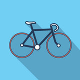 Illustation of bicycle in flat design with long shadow Royalty Free Stock Photos