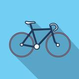 Illustation bicykl w płaskim projekcie z długim cieniem Zdjęcia Royalty Free