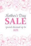 Illustation de vente du jour de mère Dessin détaillé de fleur Grand Ba Photographie stock libre de droits