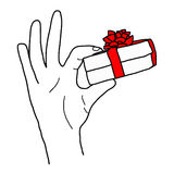 Illustation vector hand drawn doodle of Hand holding a gift box Royalty Free Stock Photo
