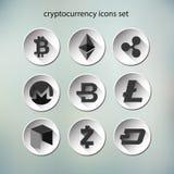 Illustationvector van geplaatste de pictogrammen van de cryptocurrencyknoop stock illustratie