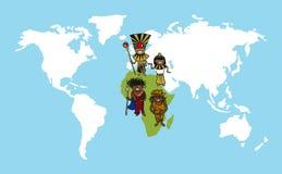 Illustr de la diversidad del mapa del mundo de las historietas de la gente de África Imágenes de archivo libres de regalías