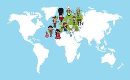 Illustr di diversità della mappa di mondo dei fumetti della gente di Europa illustrazione vettoriale